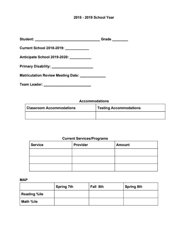 matriculation sample
